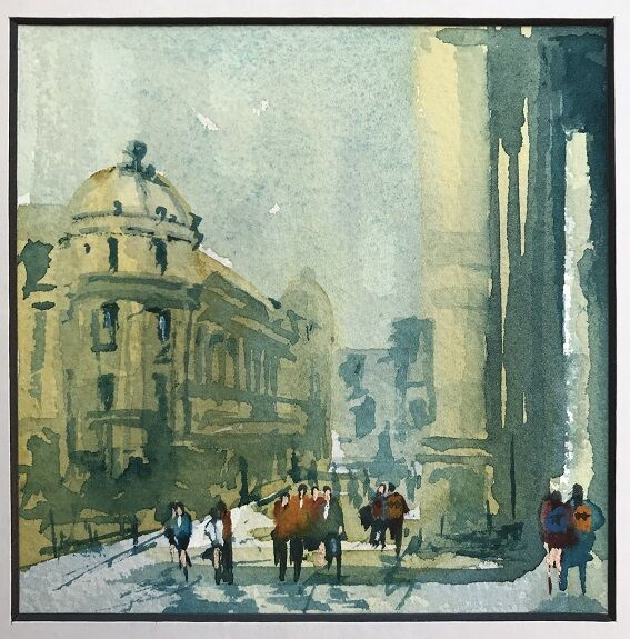 Going to the Theatre Royal, watercolour by Tim Griffiths