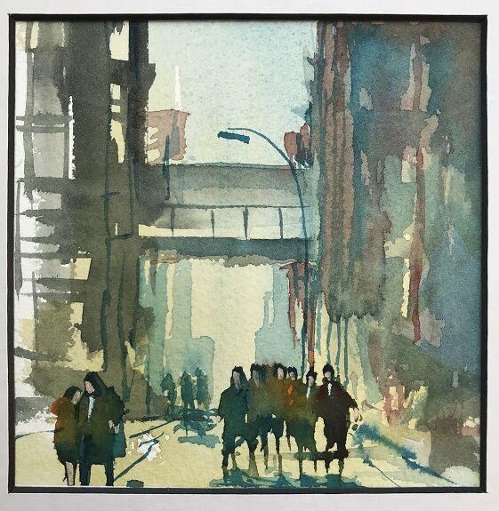 Tim Griffiths, New York City Street -watercolour