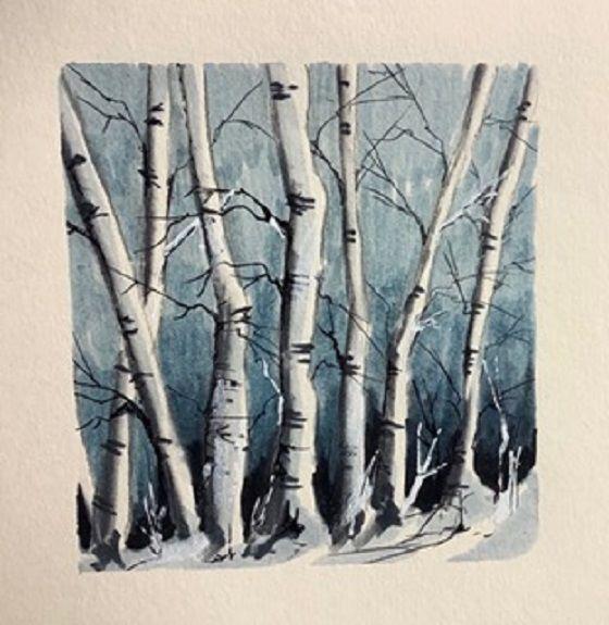 Tim Griffiths, Birches -felt pen and watercolour.