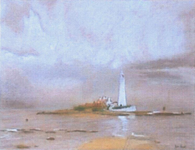 Joe Beard 'St Mary's Lighthouse, Whitley Bay' -pastel and pen