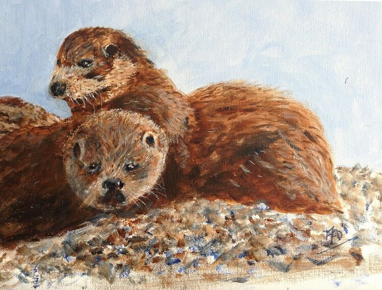 """Audrey Drynan """"Otters on Dry Land""""."""