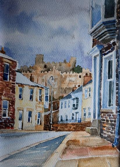 Crossgate Durham, watercolour by Willie Drea