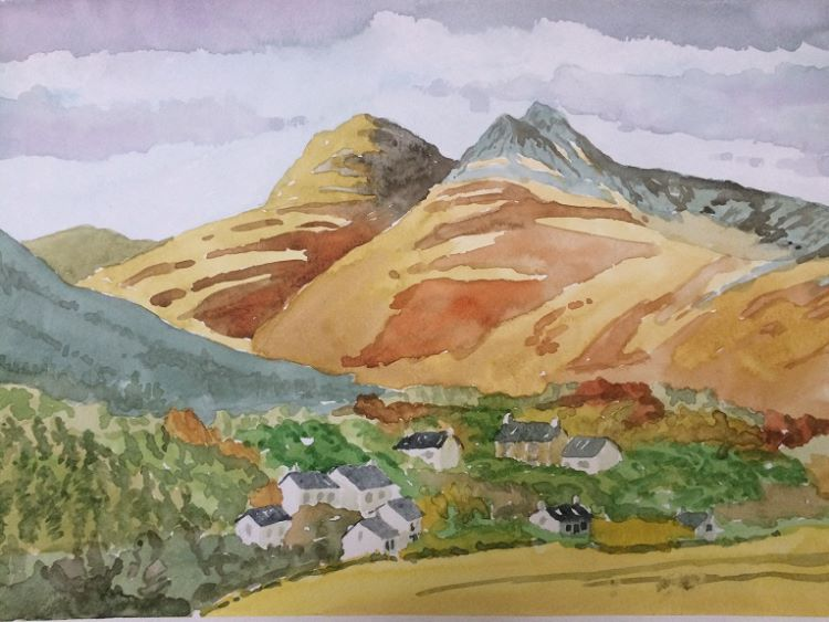 Lakeland Landscape, watercolour by Dougie Johnston