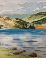 Rydal Water by Dougie Johnston. -watercolour