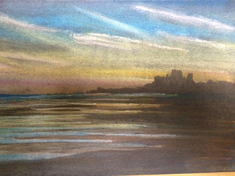 Bamburgh Sunset by Dougie Johnston. -pastel