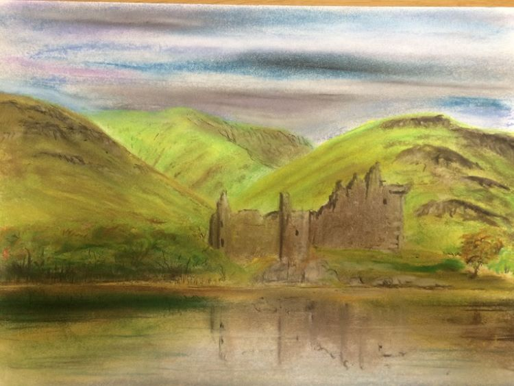 Highland Reflections by Dougie Johnston. -pastel