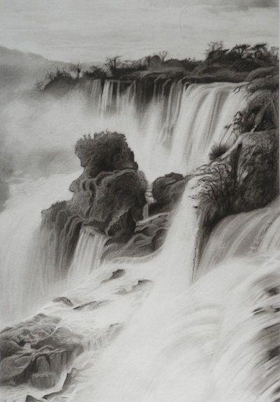 Detian Falls by Doug Stevenson -charcoal