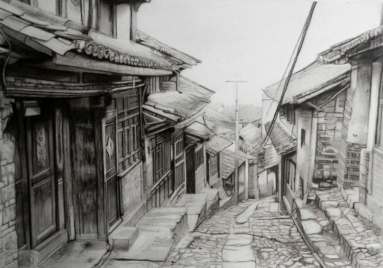 Doug Stevenson, Daxi Village -charcoal.