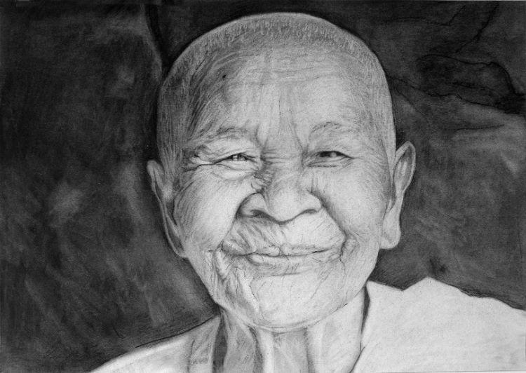 Happy Monk by Doug Stevenson. -charcoal