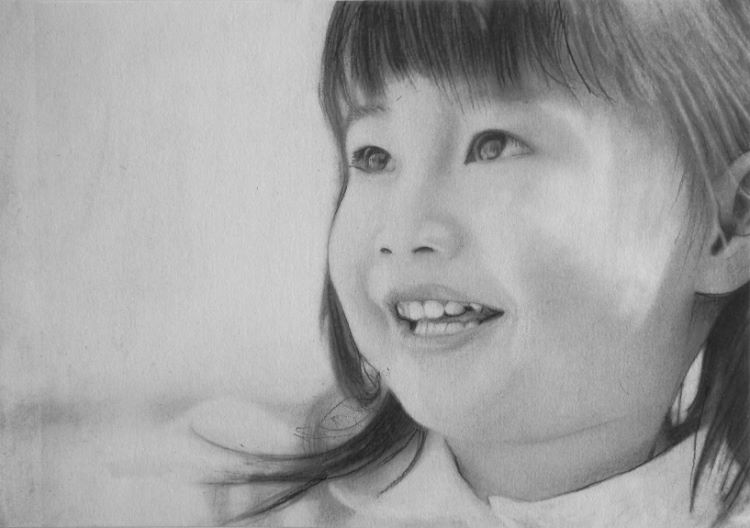 1 -Smiling Child by Doug Stephenson. -charcoal (Commended)