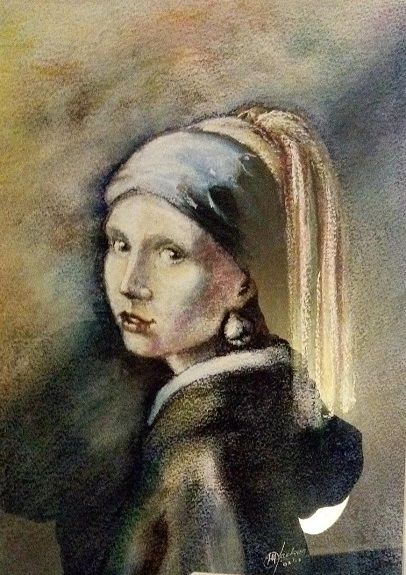 Girl With a Pearl Earing by Michael Jackson -inscribe pastel (appropriation)