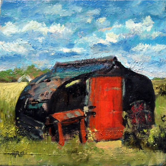 Lindisfarne Boatshed by Harry Bell, -acrylic