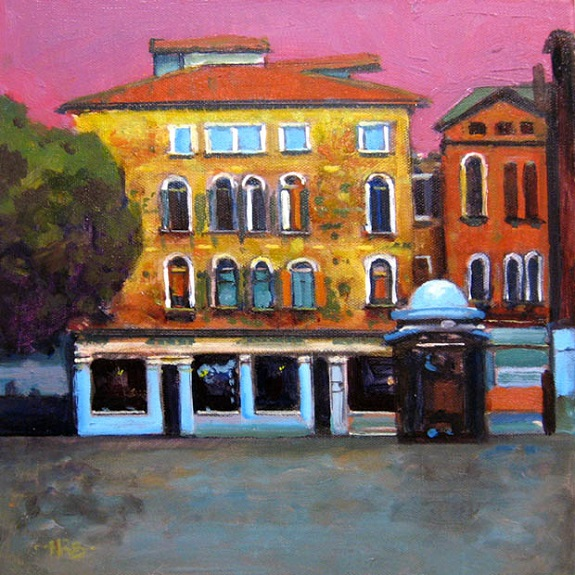 Piazza after Rain by Harry Bell, -acrylic