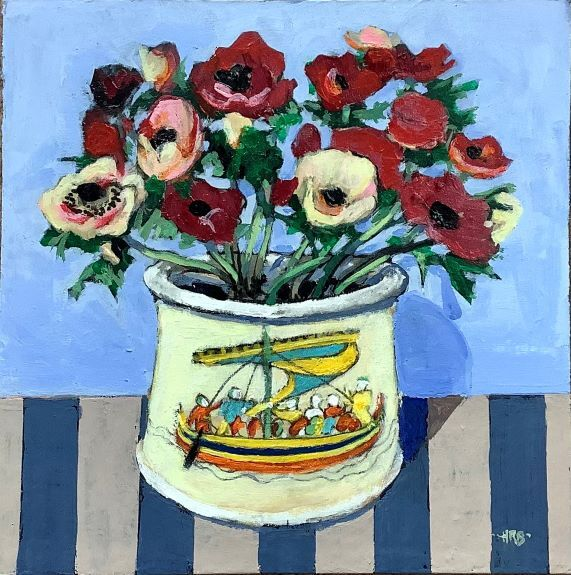 Harry Bell ' Anemones in a Bayeux Jar '