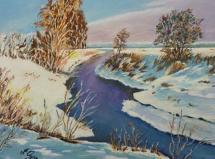 Irene Ayre, Winter Sunshine -gouache