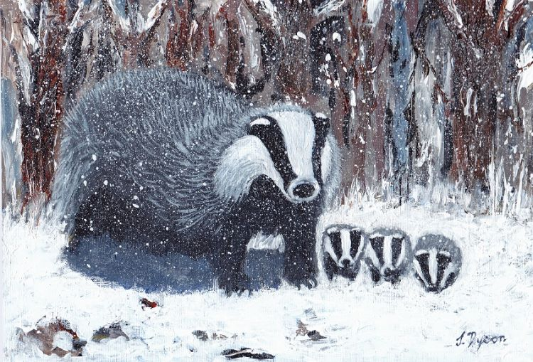 Badgers in the Snow by Jenny Dyson. -mixed media