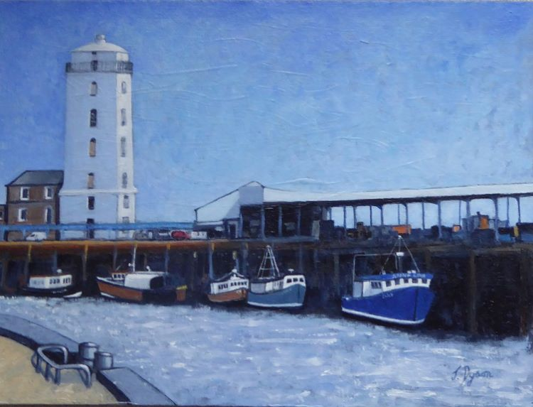 46 -Low Light North Shields by Jenny Dyson. -oils