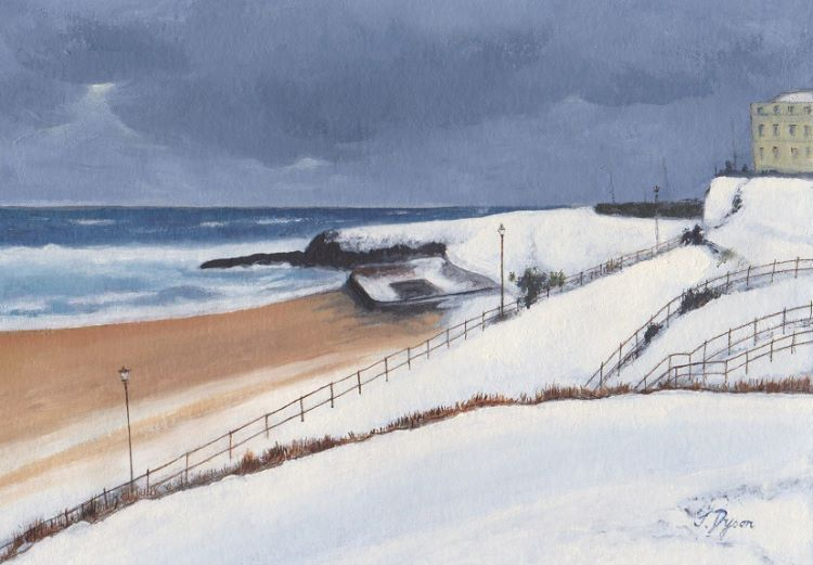 Snow on the Beach Tynemouth by Jenny Dyson -oils