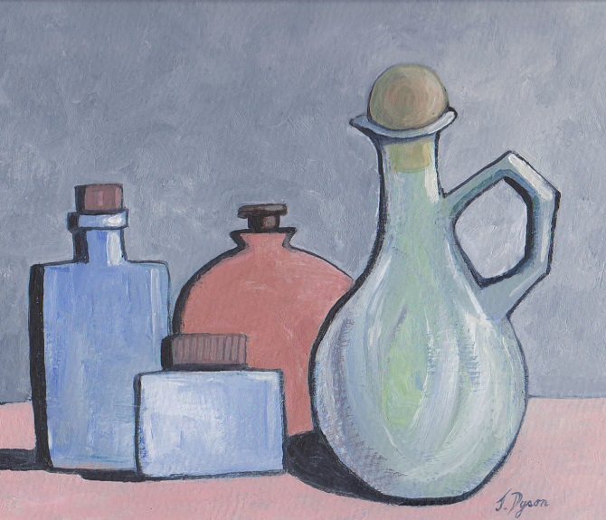 Still Life with Bottles and Jug by Jenny Dyson, -oils