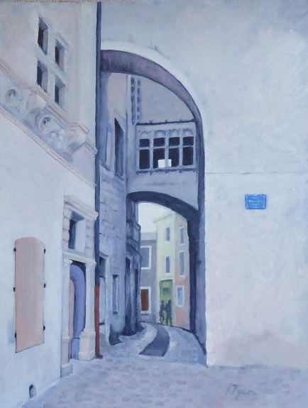 43 -The Medieval Town of Vivienne France by Jenny Dyson, -oil