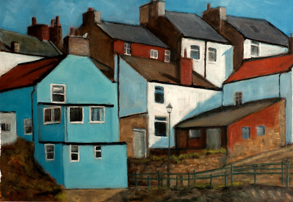 Blue House Staithes by John Fulthorpe. -acrylic