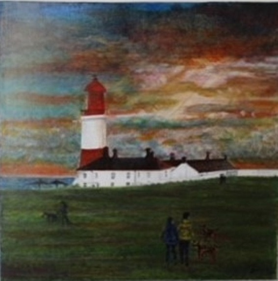 Souter Lighthouse by Julie Manning. -acrylic