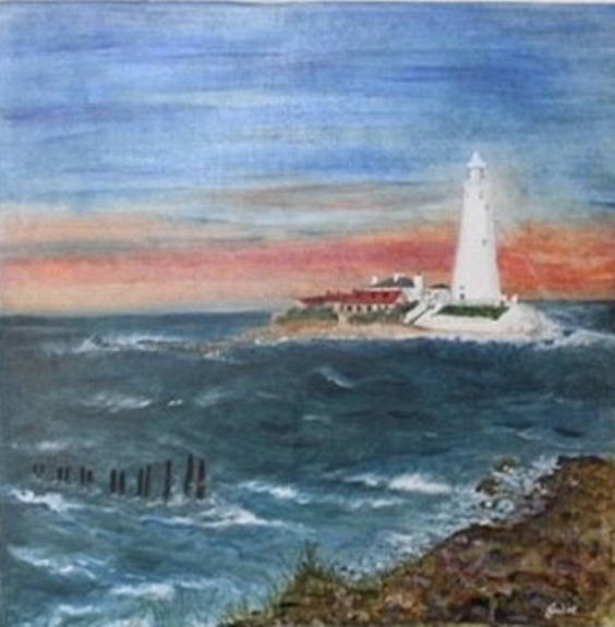 St Mary's Lighthouse by Julie Manning, -acrylic