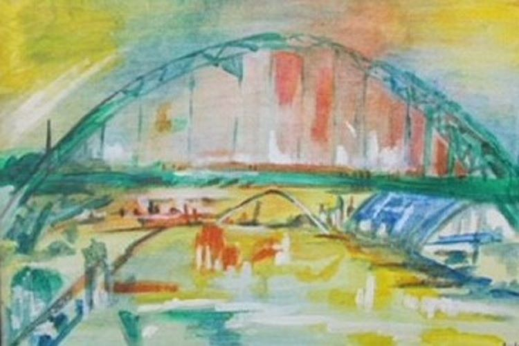 58 -Tyne Bridges by Julie Manning, -acrylic