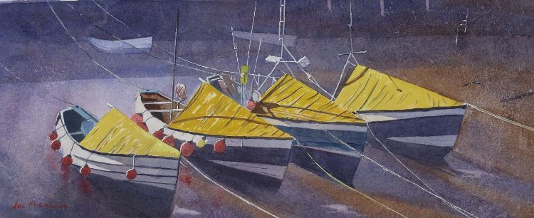 Four Amble Boats by Joe McGregor. -acrylic
