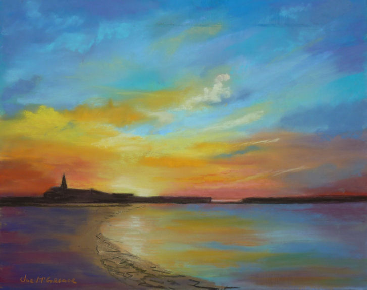 Sunrise - Newbiggin-by-the-Sea by Joe McGregor. -pastel