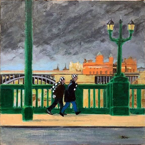 Late for the Match -acrylic on board by Harry Bell