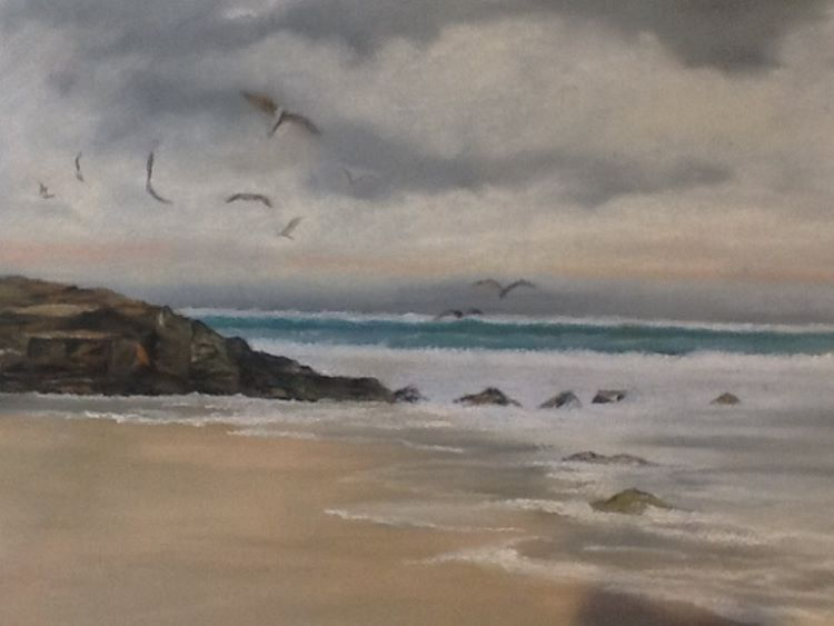 Seascape in Summer by Margaret Richardson. -pastel