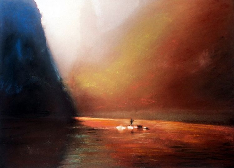 On The River by Doug Stevenson -pastel