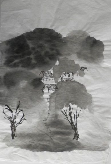 Village in Summer -Chinese inks on rice paper by You-Jin Lou