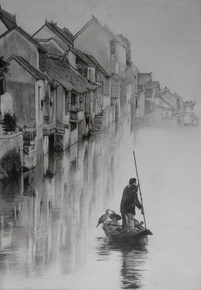 Xitang Boatman by Doug Stevenson -charcoal