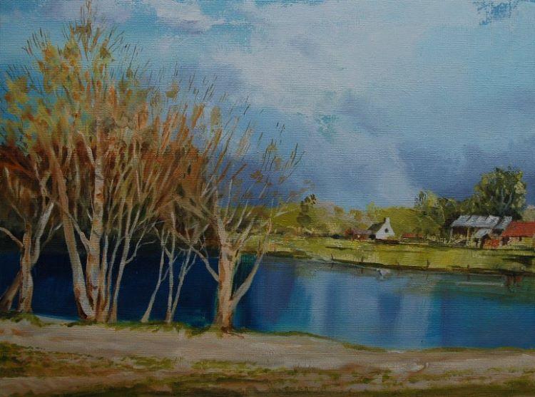 Lakeside, oil on board by Willie Drea