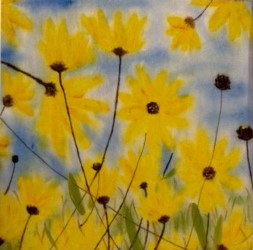 Summer Daisies, painted on satin by Sheila Lewis