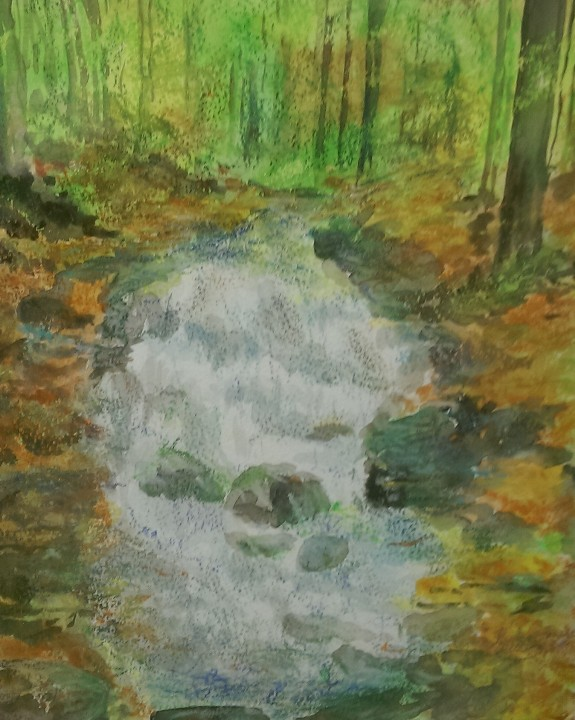 Rushing Waters by Pat Thompson, watercolour