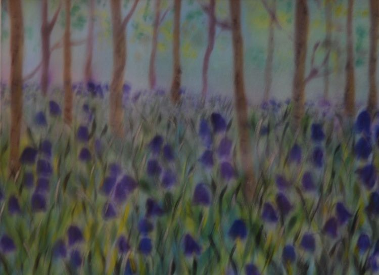 Bluebells by Sheila Lewis, paint on satin