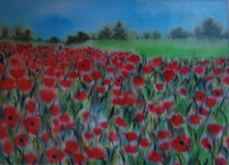 Poppies by Sheila Lewis, -paint on satin