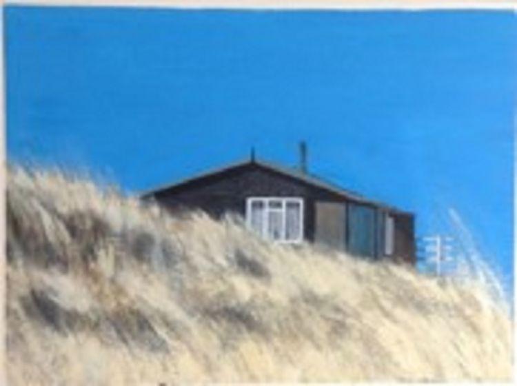 Beach Hut by John Fulthorpe -acrylic