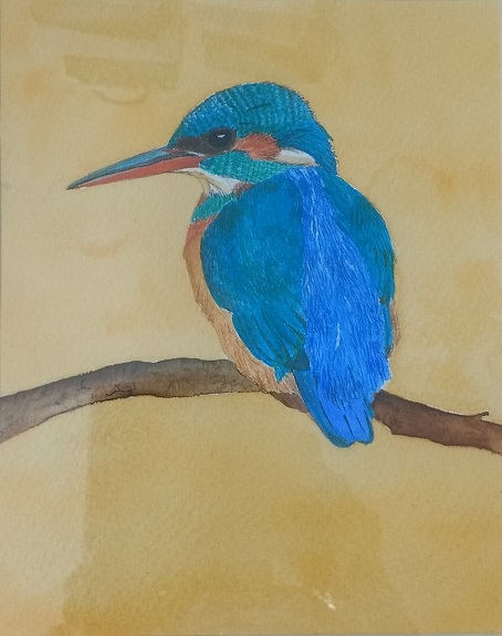 74 -Kingfisher by Sheila Lewis, -mixed media