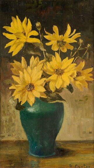 ShipWk9 Eva Carter, 'Yellow Marguerites' oil 20th cent575