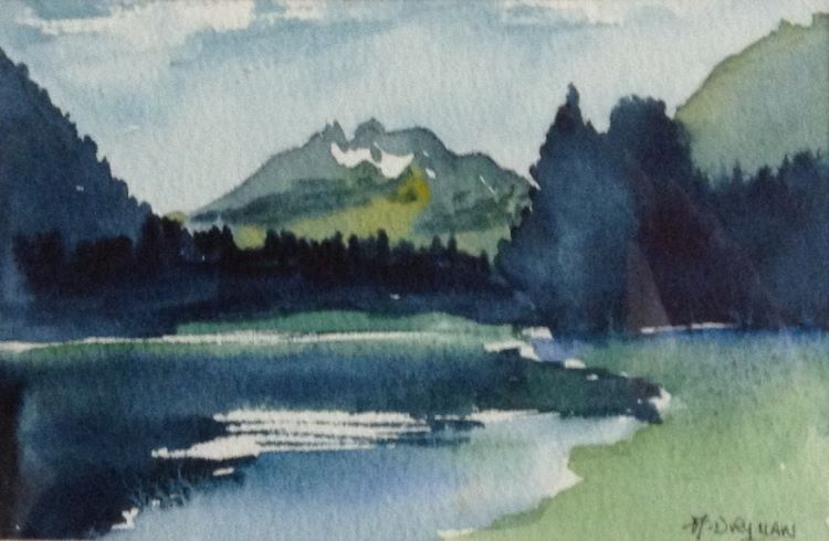 Lake in the French Alps watercolour by Audrey Drynan