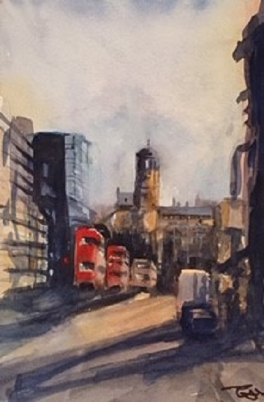 Blackett Street by Tim Griffiths, -watercolour