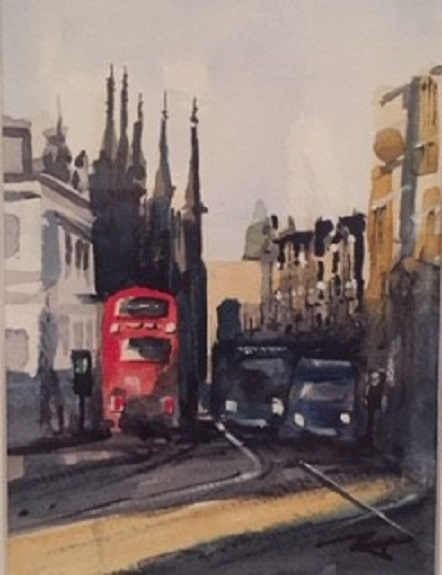 Grainger Street by Tim Griffiths, -watercolour