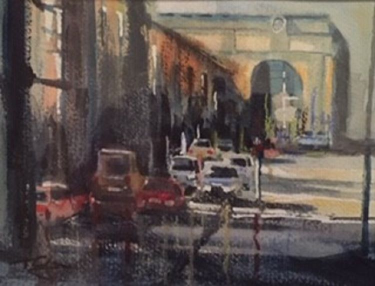 Taxi Rank Central Station by Tim Griffiths, -watercolour