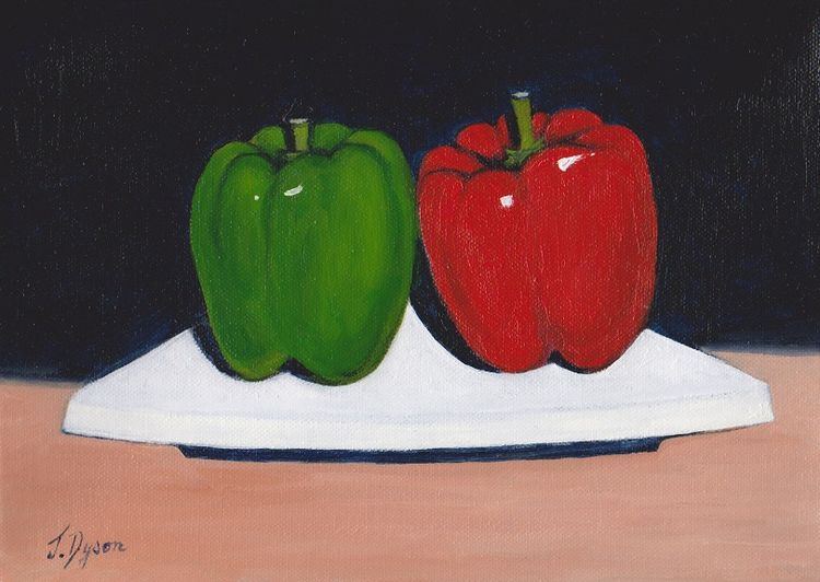 Two Peppers by Jenny Dyson -oil on canvas