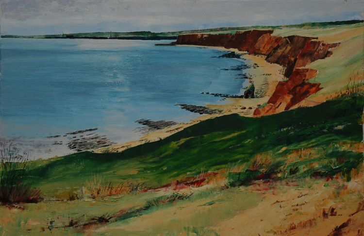 16 -Durham Coast with the Hartlepools by W Drea Oil on canvas 60cmx40cm