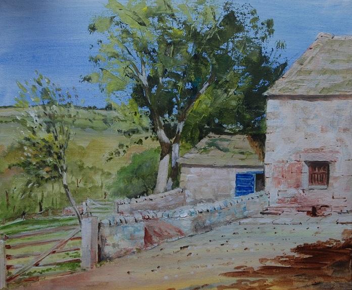 Cherryburn Farmyard, oil on board -Willie Drea